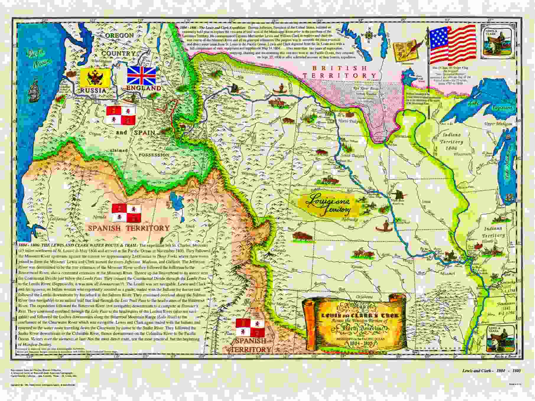 Lewis And Clark Route To The Pacific 1804 1805