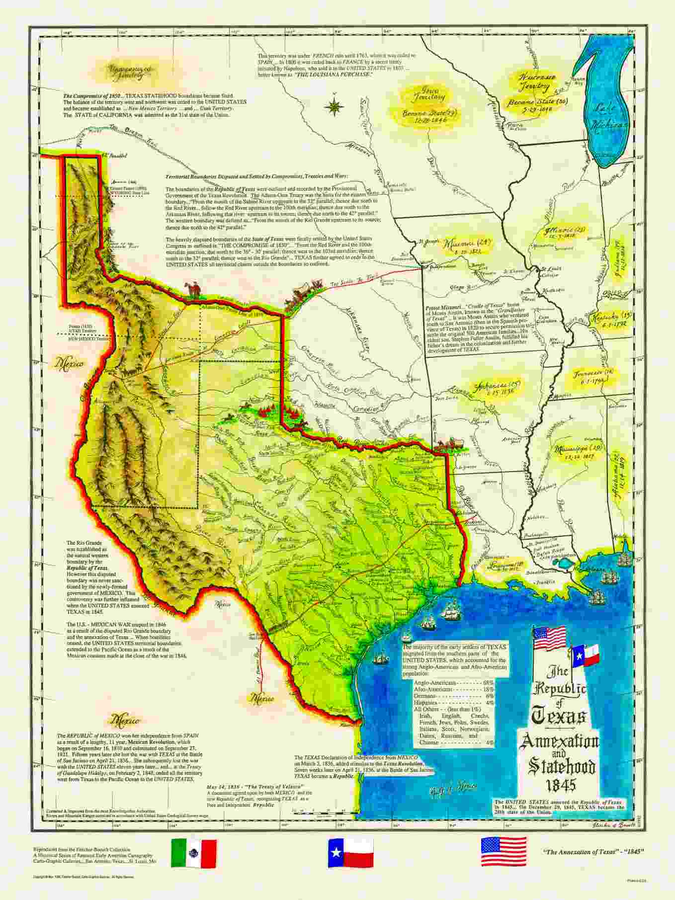 Historical Texas Maps Texana Series - Map of us 1845