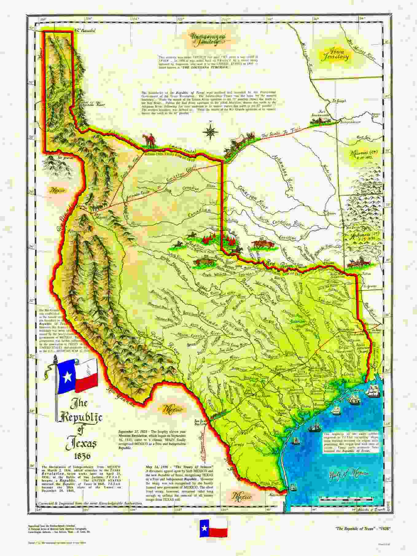 Historical Texas Maps Texana Series - Us-map-before-mexican-american-war