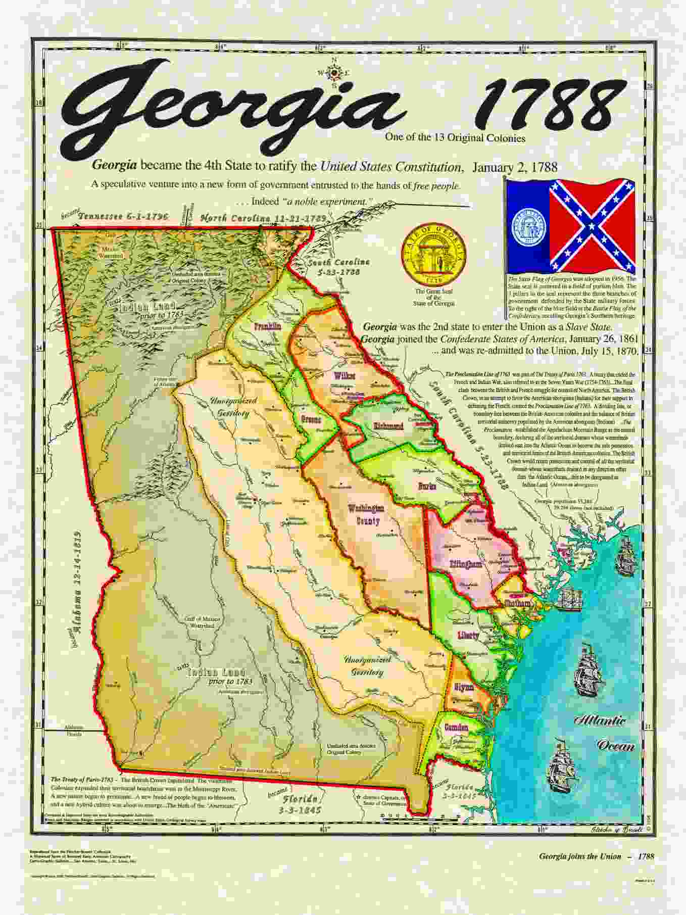 Colonial Map Of Georgia.13 Colonies New Hampshire Georgia Massachusetts And