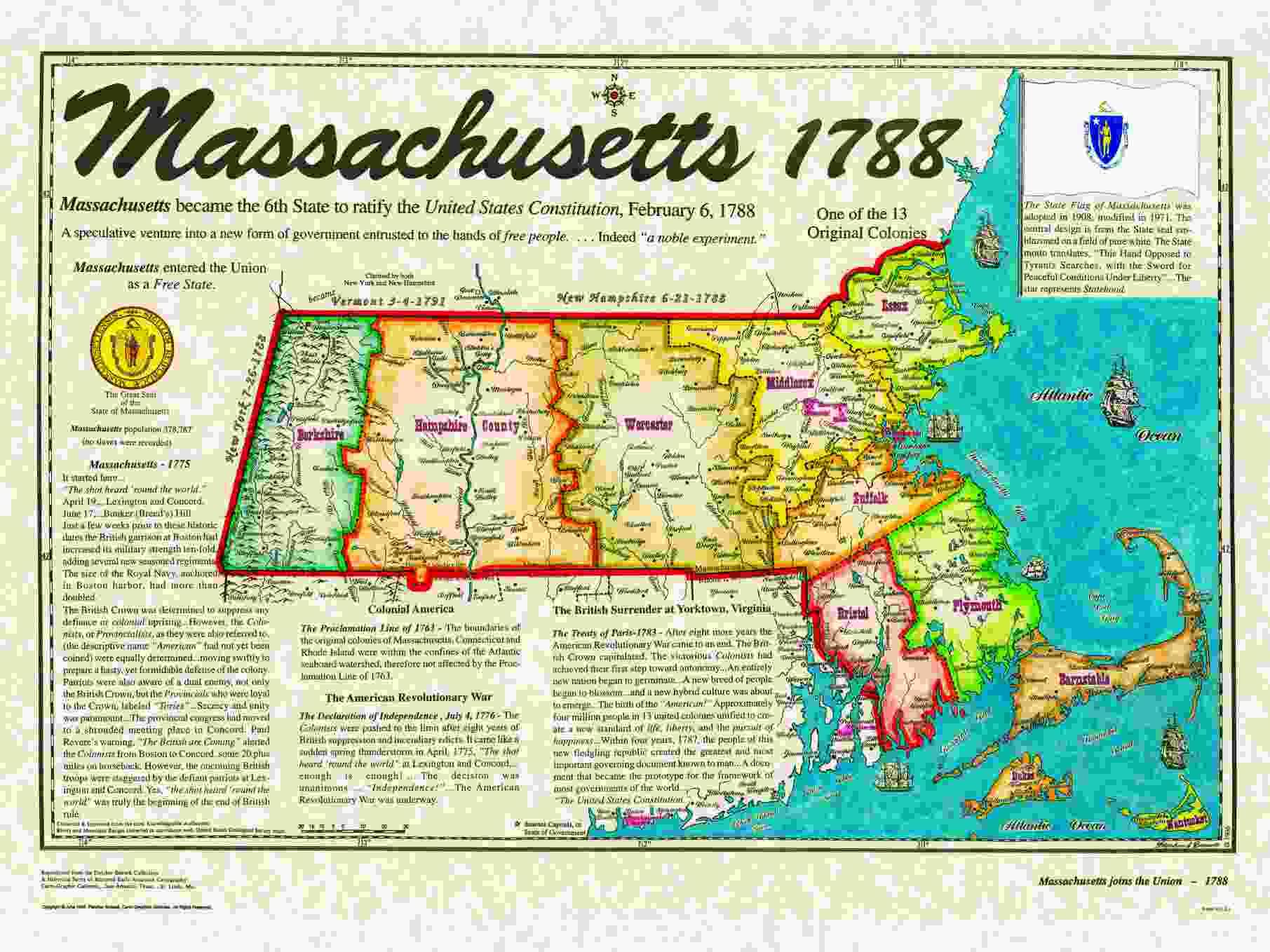 Original States - Massachusetts on the us map
