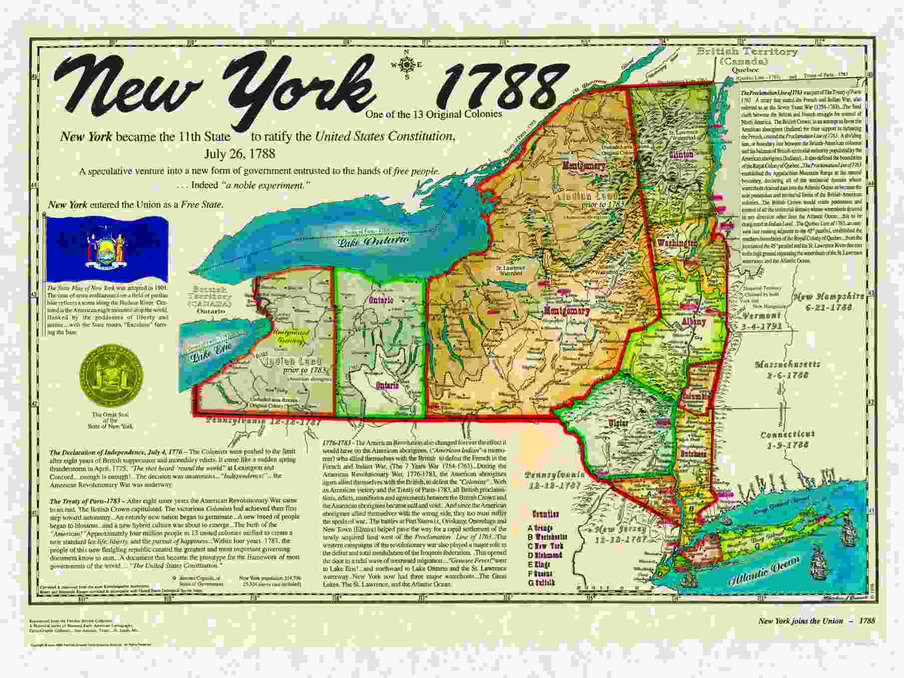 Original  States - Us states map new york