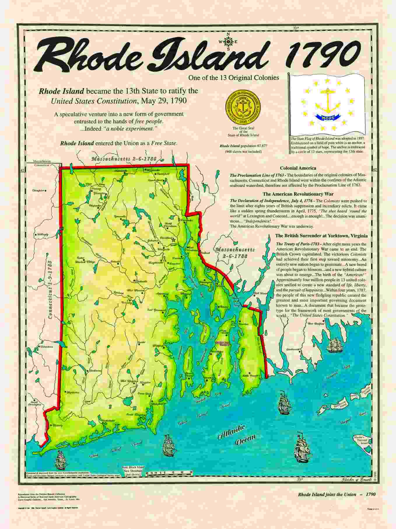 Original States - Rhode island us map