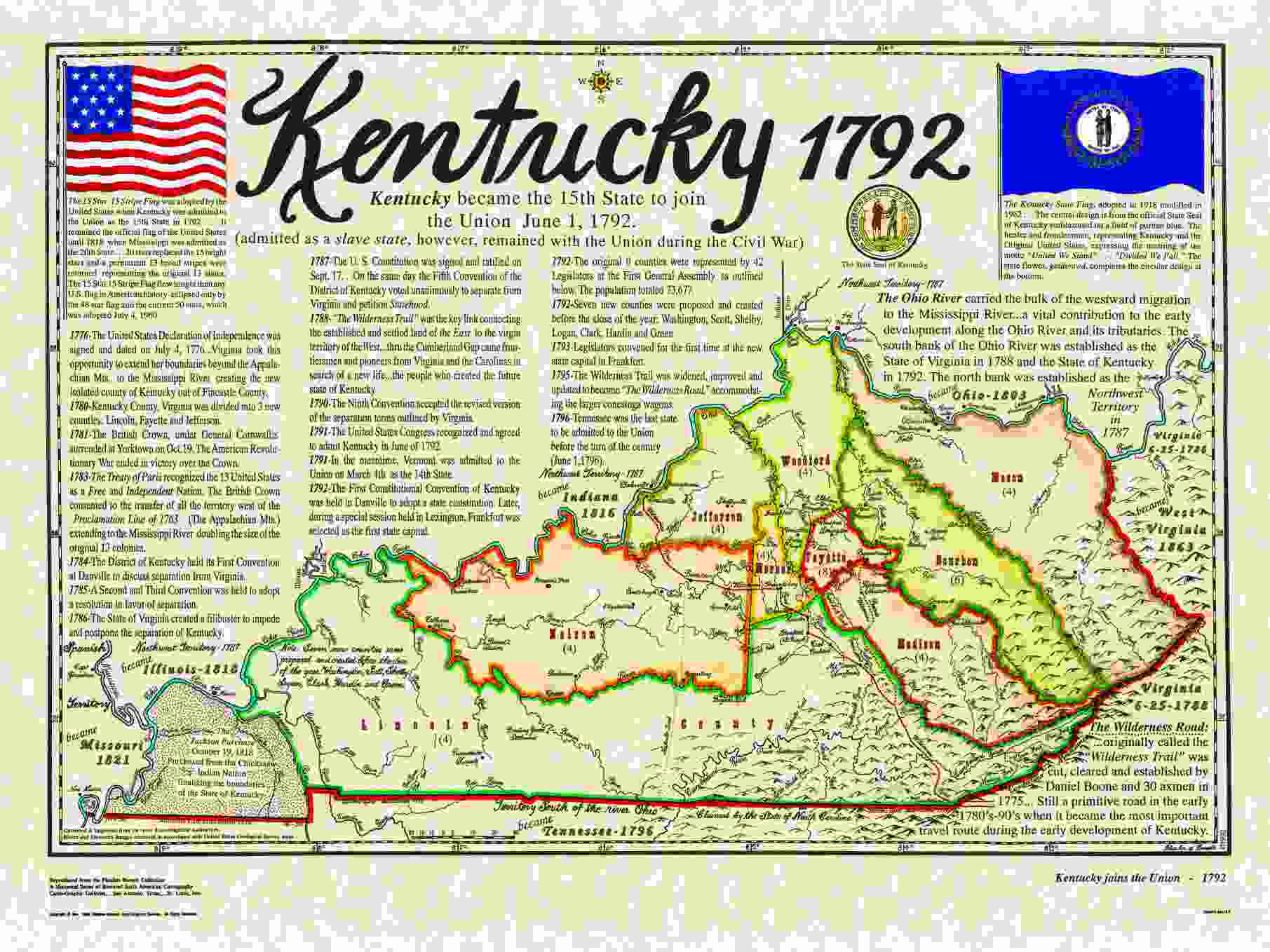 Statehood Maps - Map of the state of kentucky