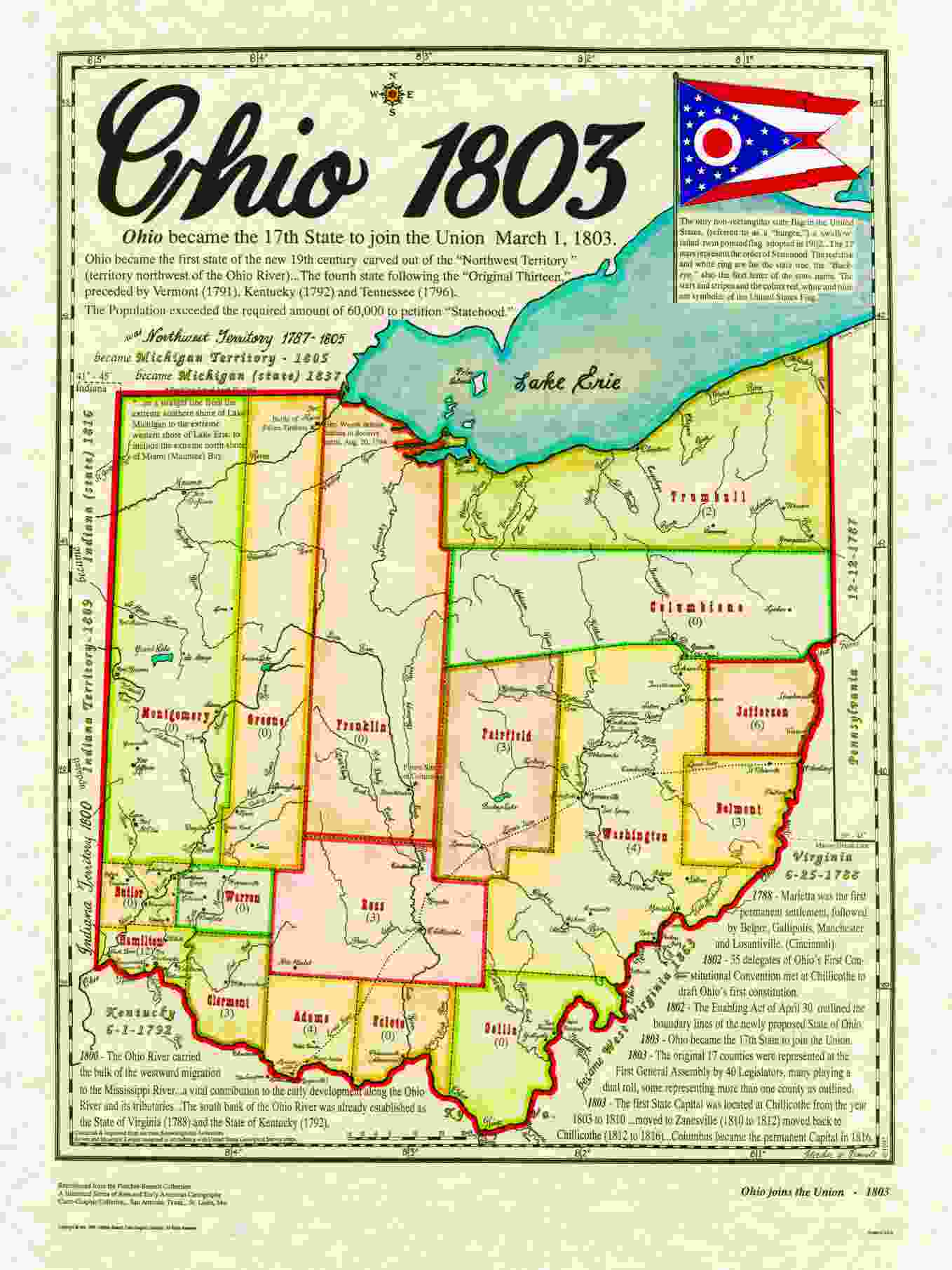 Statehood Maps - State map of us ohio