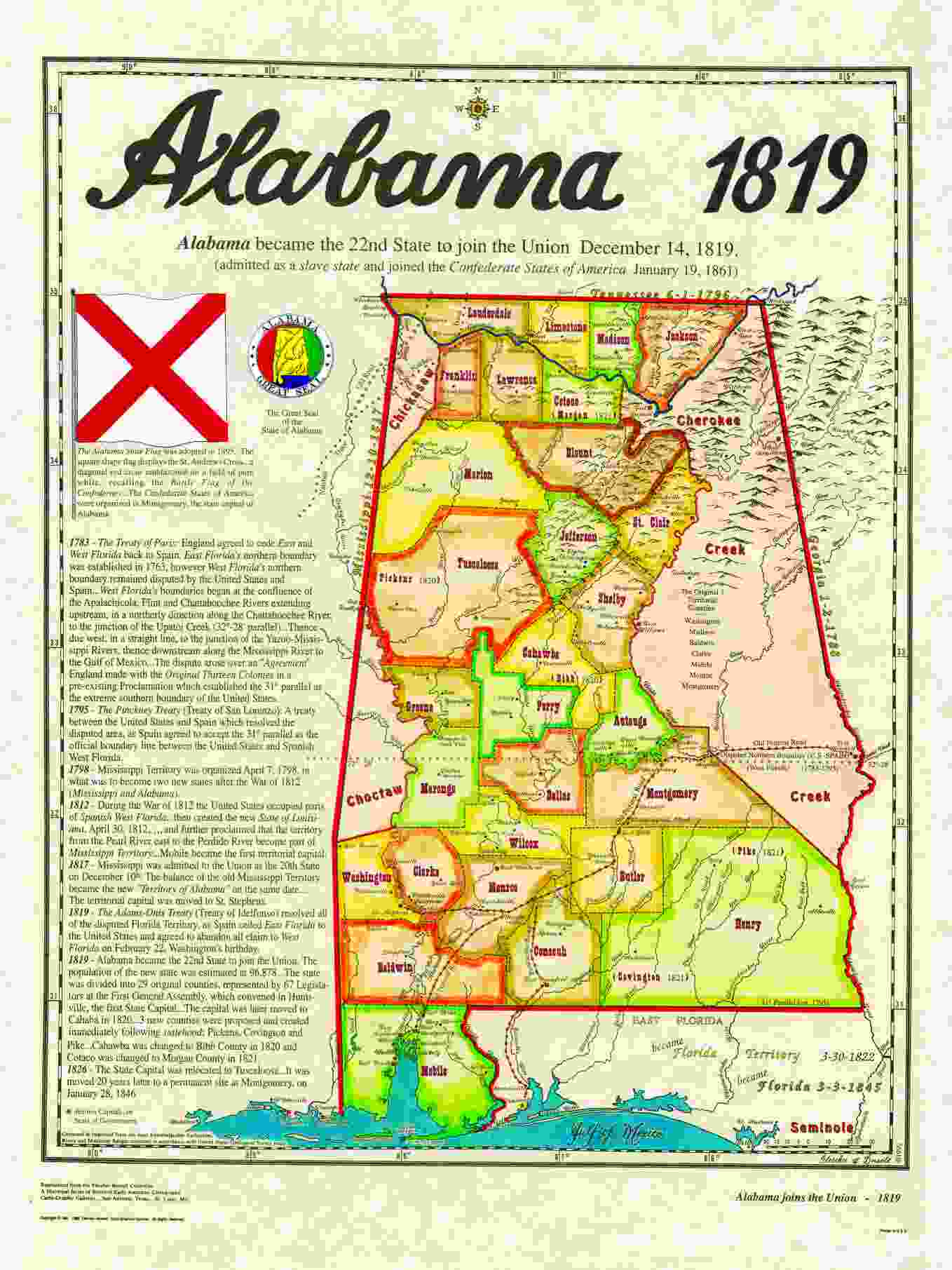 Statehood Maps - 1819 map of us