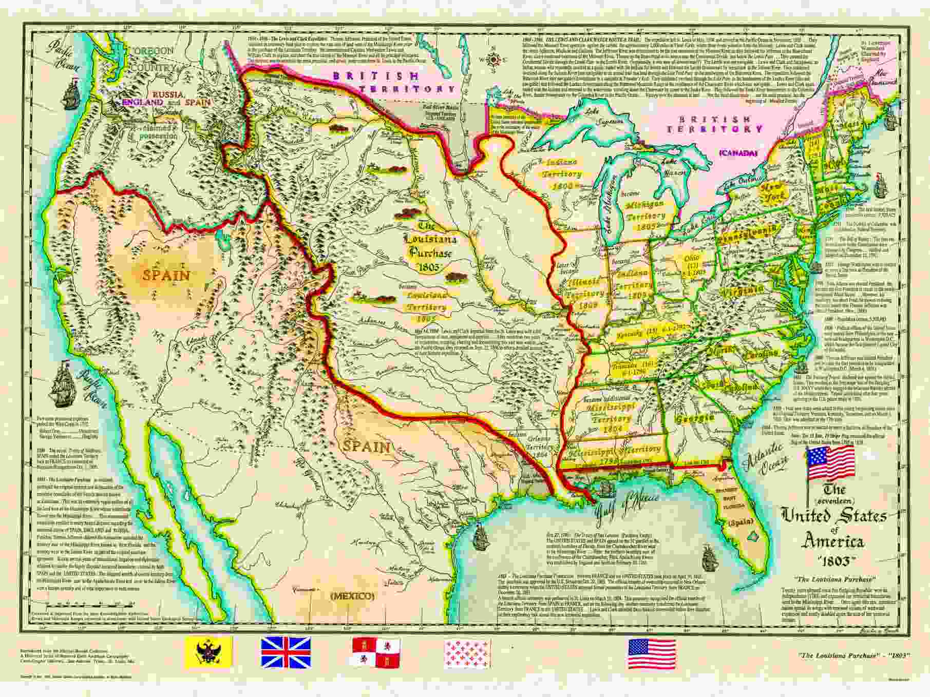 US Historical Series - Map of us territories in 1803