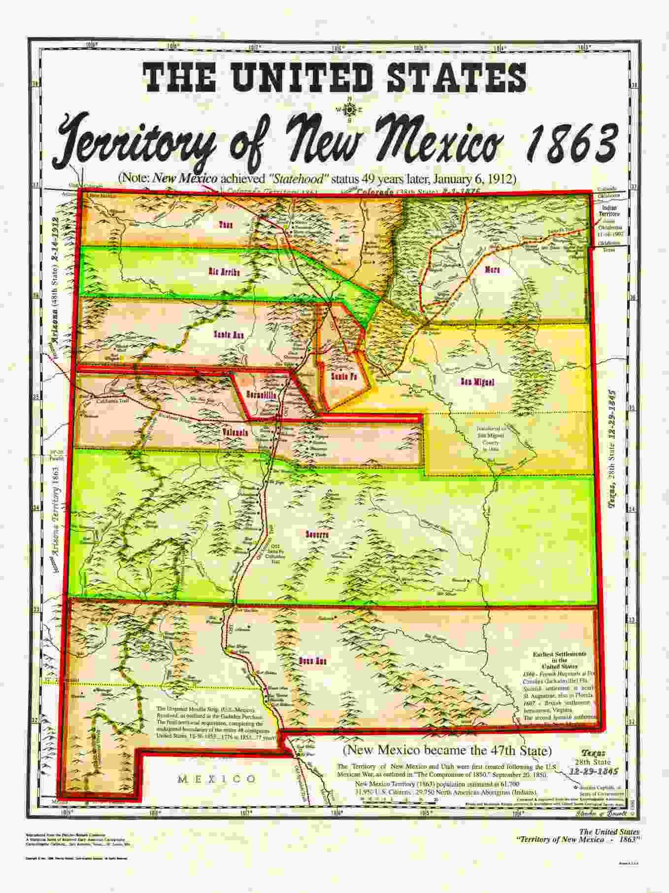 Unitedstatesterritories - Us map 1863