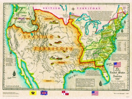 this map shows the beginning of the original 13 united states from the atlantic ocean west to the mississippi river spain claimed everything from the